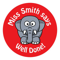 80 Personalised Teacher Reward Stickers for Pupils Red Elephant teacher gift