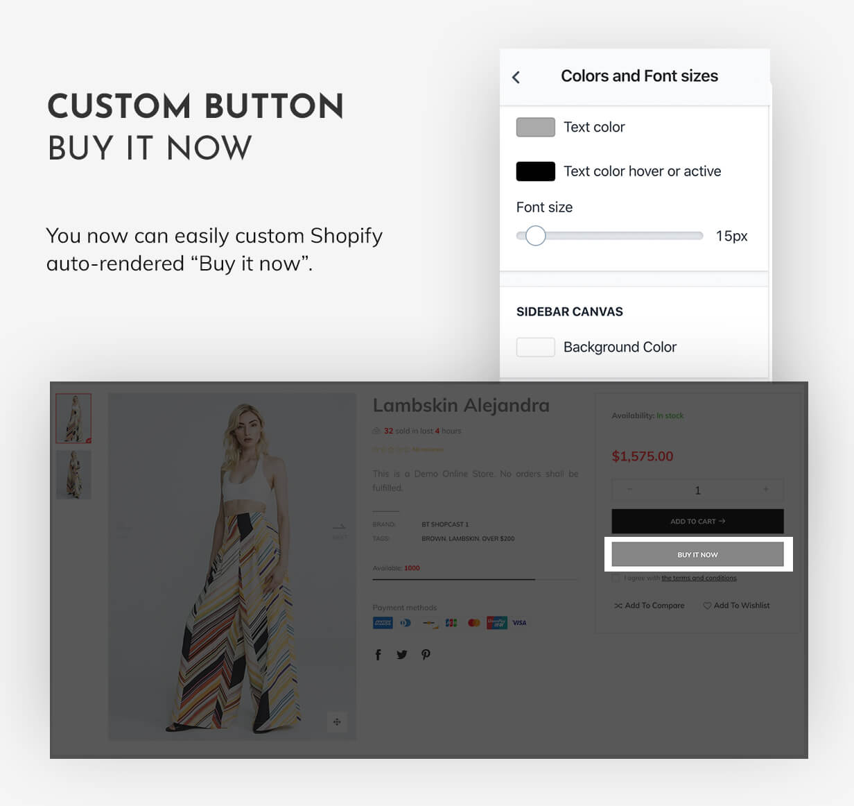 Customize Shopify payment button without apps