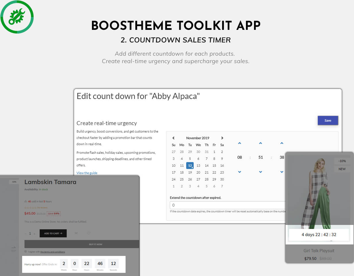 Boostheme Toolkit app - Add different countdown timer for each product