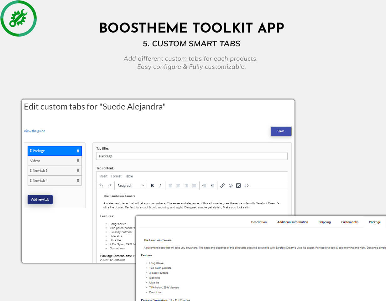Boostheme Toolkit app - Add different custom tabs for each product