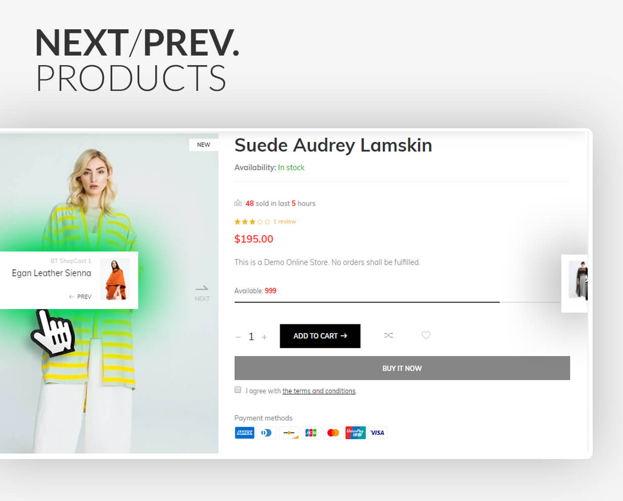 Next/Prev products on the product page
