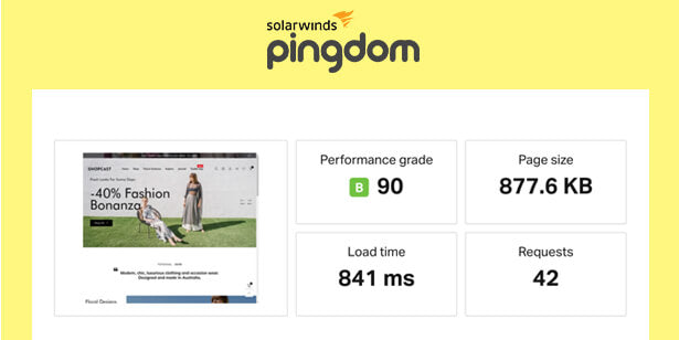 Performance score of Shopcast on Pingdom