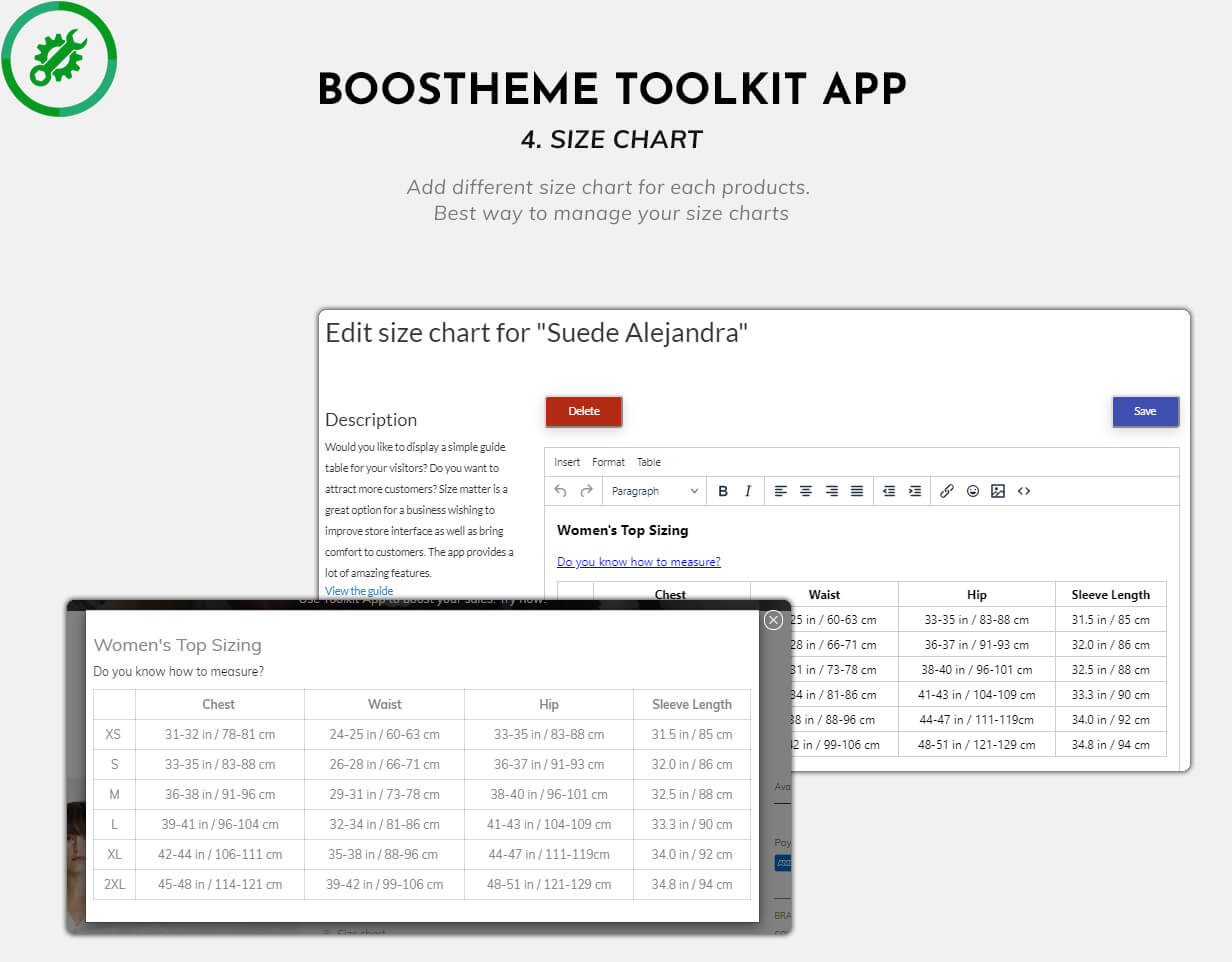 Boostheme Toolkit app - Add different size chart for each product