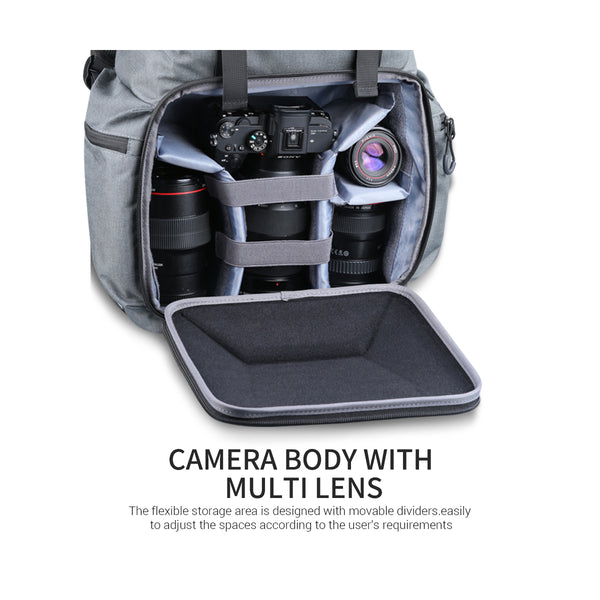 K&F CONCEPT Waterproof Camera Backpack Photography Storage Bag with Divider (KF 13.098)