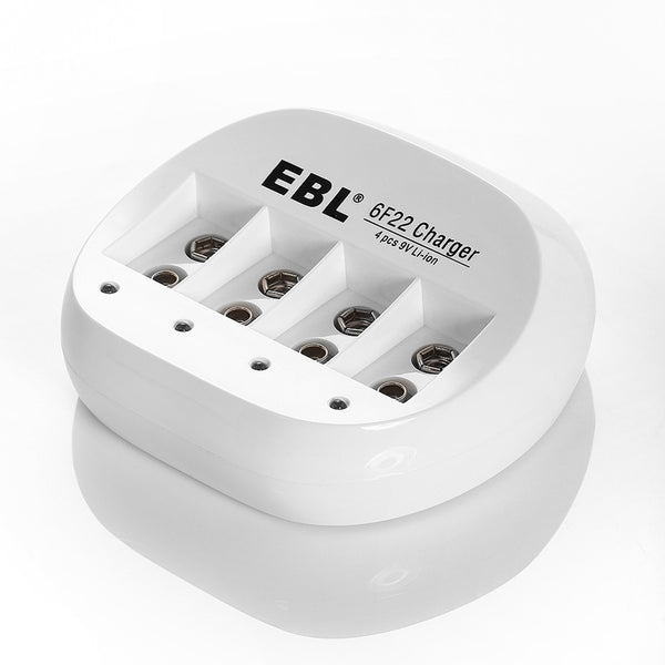 EBL 4 Bay Lithium Battery Charger for 9V Li-On Rechargeable Batteries LiOn 9 volts Camera Commons PH