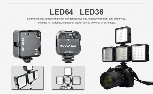 Godox LED36 Video Light 36 LED Lights lightweight and portable for DSLR Camera Camcorder mini DVR
