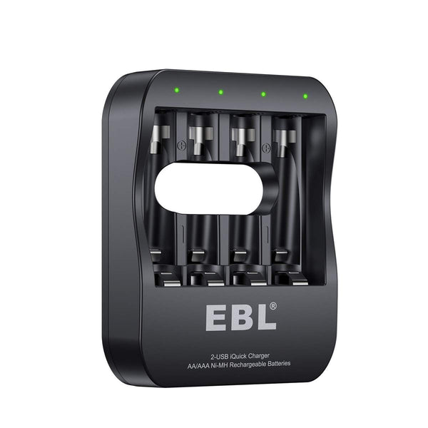 EBL 4 Bay Smart Battery Charger for AA  AAA  Ni-MH Rechargeable Batteries NiMh