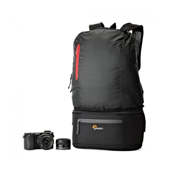 Lowepro Passport Duo Backpack Camera Bag (Black) // Lightweight Travel Pack for Mirrorless / DSLR / expandable
