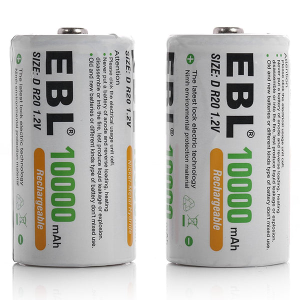 EBL 2 Pack 1.2V D Size D Cell 10000mAh Rechargeable battery - Ni-MH NiMH