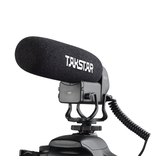 TAKSTAR SGC-600 On-camera Condenser Interview Microphone Mic Super-cardioid 3-level Gain Control Low Cut Switch 3.5mm Plug with Windscreen Cold Shoe Mount For DSLR Cameras Camcorders