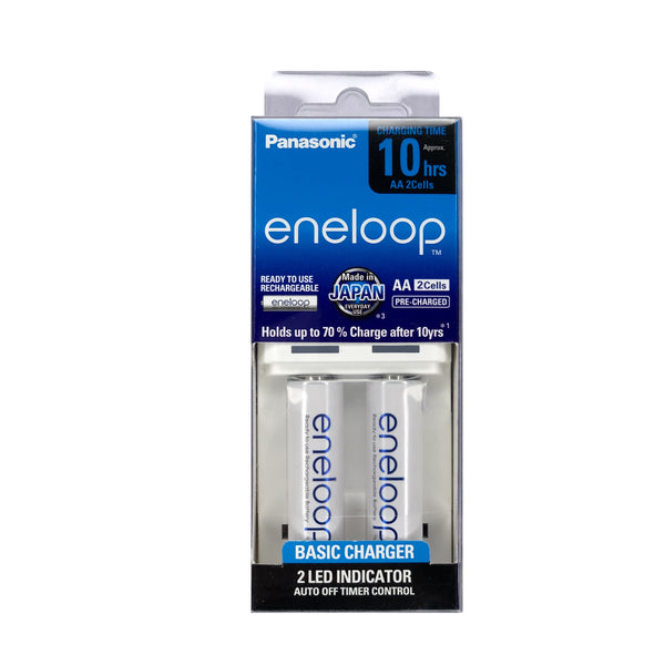 Panasonic K-KJ50MCC2TP Basic Overnight Battery Charger with eneloop Rechargeable AA set of 2 (White)