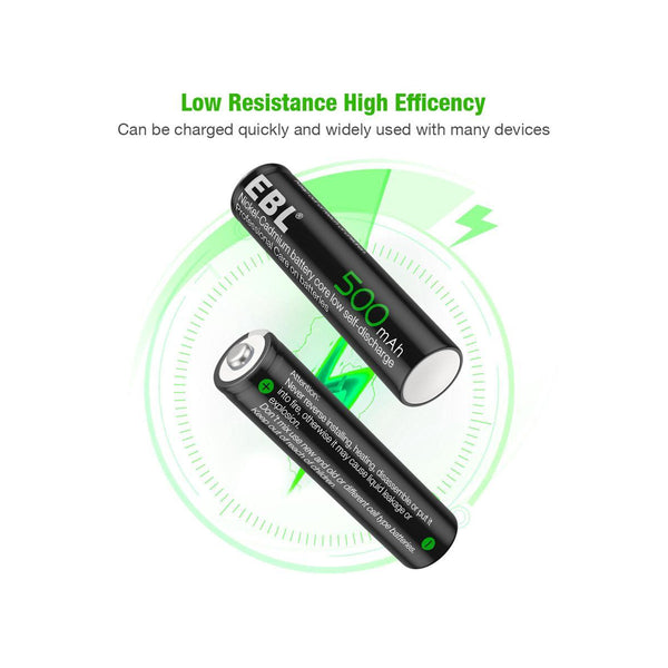 EBL 4 Pack 1.2V AAA Size 500mAh Rechargeable battery - Ni-CD NiCD