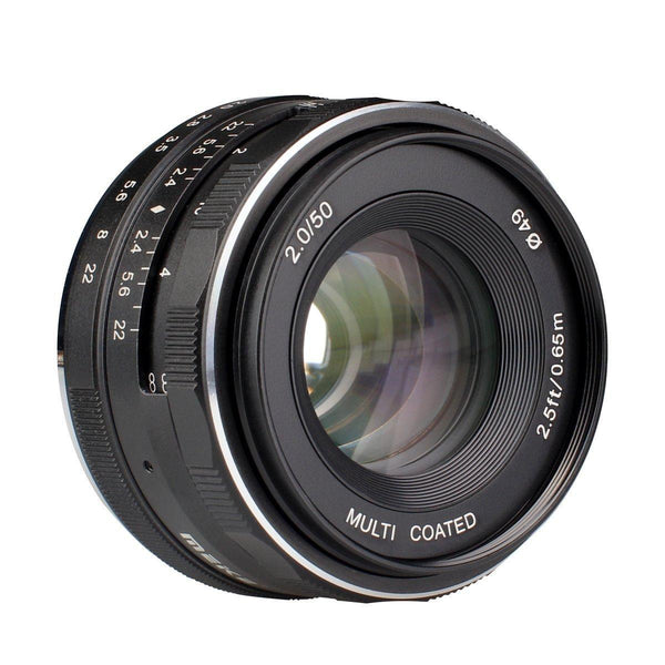 Meike 50mm f/2.0 Fixed Manual Focus Lens for Sony E Mount