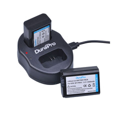DuraPro NP-FW50 FW50 NPFW50 Dual Channel Battery Charger USB Charger for SONY NEX-3 NEX-5 NEX-6