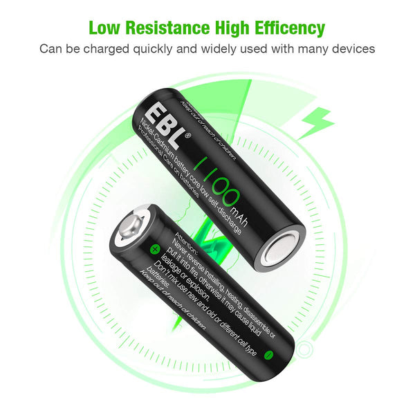 EBL 4 Pack 1.2V AA Size 1100mAh Rechargeable battery - Ni-CD NiCD Batteries