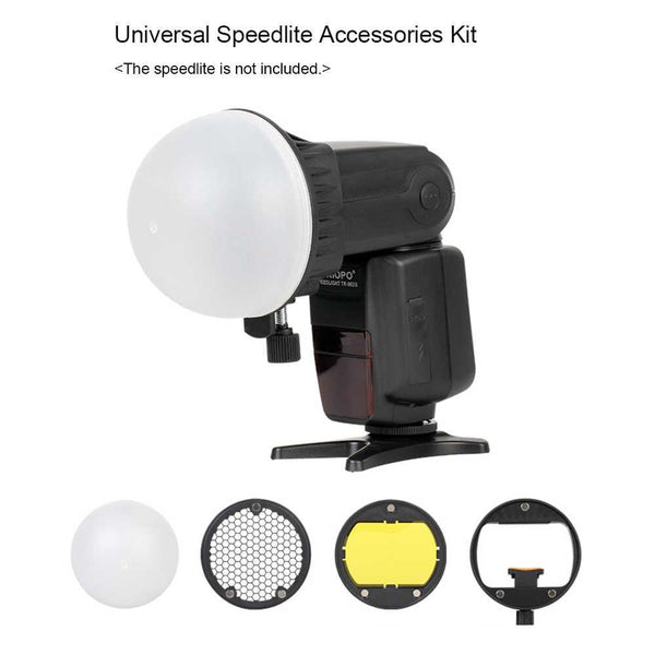 TRIOPO Flash Accessory Kit Modifier with Magnetic Mount Adapter + Diffuser Ball + Color Gel Filters for Canon Nikon Sony Godox