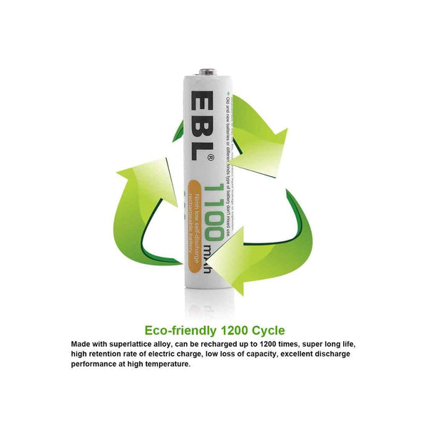 EBL 4 Pack 1.2V AAA Size 1100mAh Rechargeable battery - Ni-MH NiMH