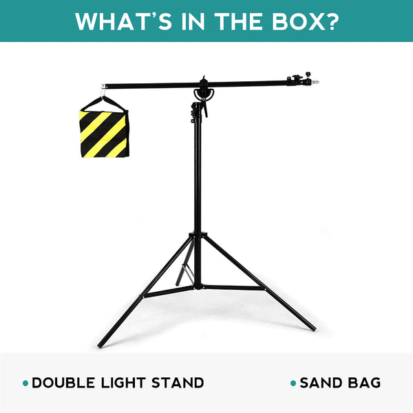 "154"" 390cm 2in1 Light Stand,Boom Arm,Rotatable Aluminum Adjustable Tripod Boom Light Stand with Sandbag for Studio Photography"