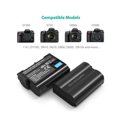EN-EL14 EN EL14A RAVPower Battery Charger and 2-Pack Rechargeable Li-ion Batteries Compatible with Nikon D5600 D3300 D3500 D5100 D5500 D3100 D3200 D5200 D5300 Coolpix P7000 P7100 P7200 P7700 P7800