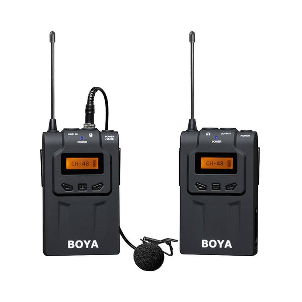 BOYA BY-WM6 UHF Professional Wireless Omnidirectional Lavalier Lapel Microphone System with 48 Optional Channels for Canon Sony Nikon Panasonic DSLR ENG EFP DV Video Camera