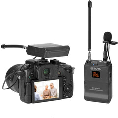BOYA BY-WFM12 12-Channels VHF Transmitter and Receiver System Professional Wireless Lavalier Mic for DSLR,Camera,Canon,Sony,Nikon,iOS,iPhone X 8 7 6 Smartphone,Panasonic,DV Camcorders,Audio Recorder