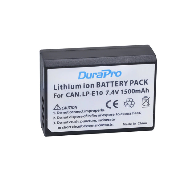 2 Pcs DuraPro LP-E10 LP E10 Rechargeable Camera Battery For Canon EOS 1100D 1200D Kiss X50 X70 Rebel for T3 T5 EOS1100D EOS1200D w/ FREE Battery Case