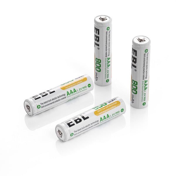EBL 4 Pack 1.2V AAA Size 800mAh Rechargeable battery - Ni-MH NiMH Camera Commons PH