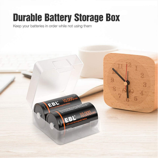EBL USB Rechargeable D Batteries 10000mWh 1.5V Long Lasting D Cell Li-ion Batteries 2 Pack