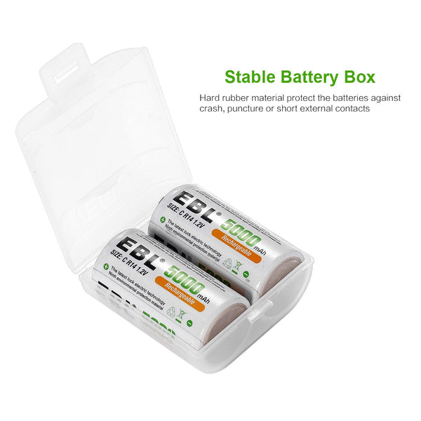 EBL 2 Pack 1.2V C Size C Cell 5000mAh Rechargeable Battery - Ni-MH NiMh