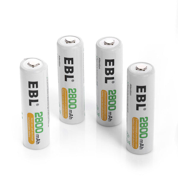 EBL 4 Pack 1.2V AA Size 2800mAh Rechargeable battery - Ni-MH NiMH Batteries