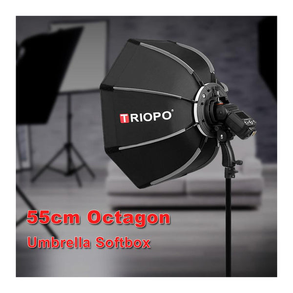 TRIOPO 55cm Octagon Umbrella Softbox with handle For Godox On-Camare Flash speedlite photography studio accessories soft Box