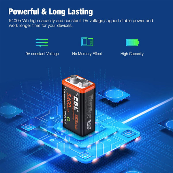 EBL USB Rechargeable 9V Lithium Batteries - 5400mWh Long Lasting LI-ion Batteries with Micro Charging Cable - Quick Charge in 2 Hours (4 Pack)