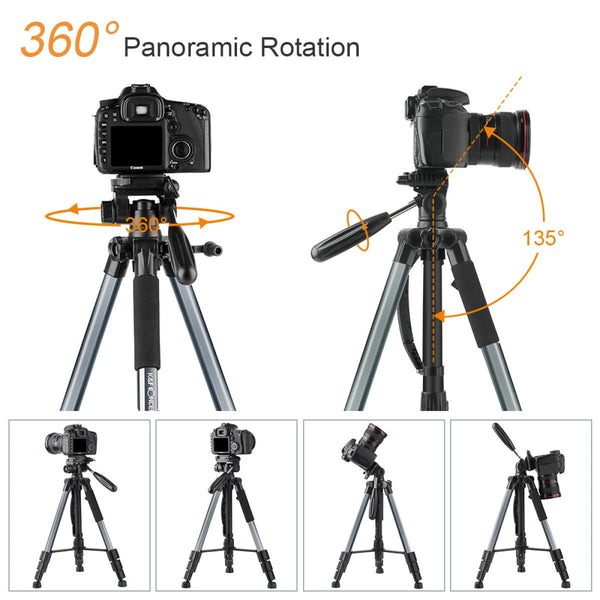 K&F Concept TM2324L 56inch Compact Tripod with Pan Ball Head Gray 56  Professional Travel Tripod for DSLR Camera Camcorder Mirrorless - KF09.049