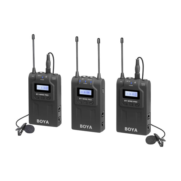 BOYA BY-WM8 Pro K2 UHF Dual-Channel Wireless Lavalier System (576.4 to 599.9 MHz, 568.6 to 592 MHz) WM8