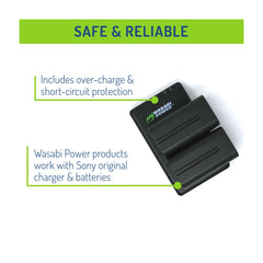Wasabi Power Battery for Sony NP-F730, NP-F750, NP-F760, NP-F770 (L SERIES) Battery (2-PACK) And Dual Charger