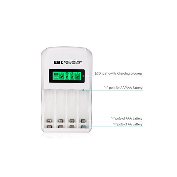 EBL 4 Bay LCD Smart Battery Charger for AA AAA Ni-MH Ni-CD Rechargeable Batteries NiMH NiCD