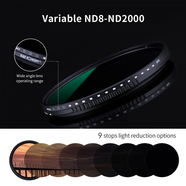 K&F Concept Variable Neutral Density ND8-ND2000 ND Filter for Camera Lenses with Multi-Resistant Coating, Waterproof