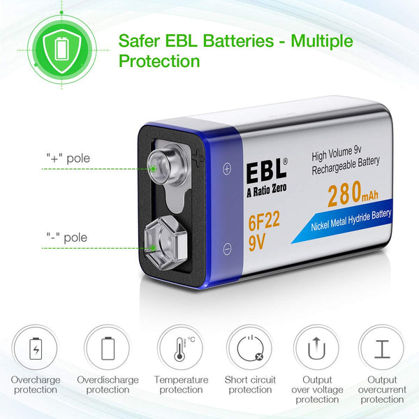 EBL 9V 280mAh Rechargeable battery - Ni-MH