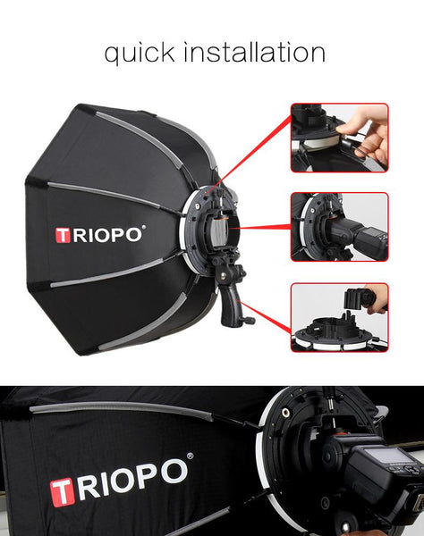 TRIOPO 65cm Foldable Softbox Octagon Soft box w/Handle for Godox Yongnuo On-Camera Speedlite Flash Light photography studio