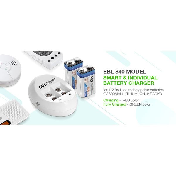 EBL 2 Bay Lithium Battery Charger for 9V Li-On Rechargeable Batteries LiOn