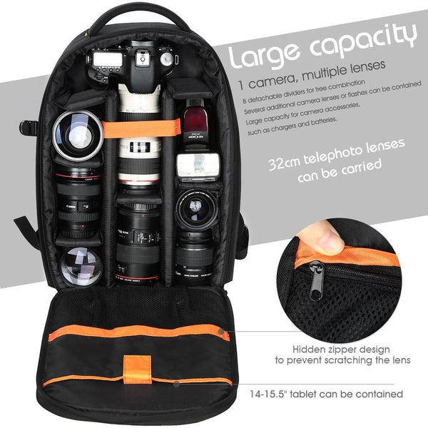 K&F Concept Nylon Large DSLR Camera Backpack for DSLR Mirrorless Camera Travel Photography Bag - KF13.037