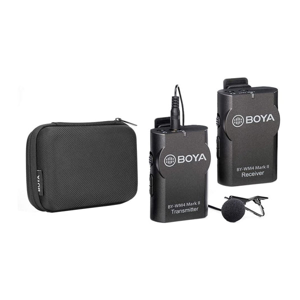 BOYA BY-WM4 Mark II Wireless Microphone System(Transmitter + Receiver) with Hard Case Compatible with DSLR Camera Camcorder Smartphone PC Tablet Sound Audio Recording Interview