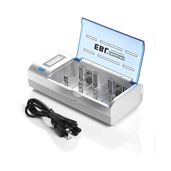 EBL 4 Bay LCD Smart Battery Charger for AA , AAA , C , D , 9V , Ni-MH , Ni-CD Rechargeable Batteries NiMH NiCD