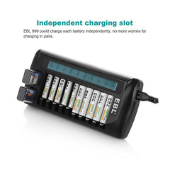 EBL 12 Bay Smart Battery Charger for AA , AAA , 9V , Ni-MH , Ni-CD , Li-On Rechargeable Batteries LiOn NiMH NiCD