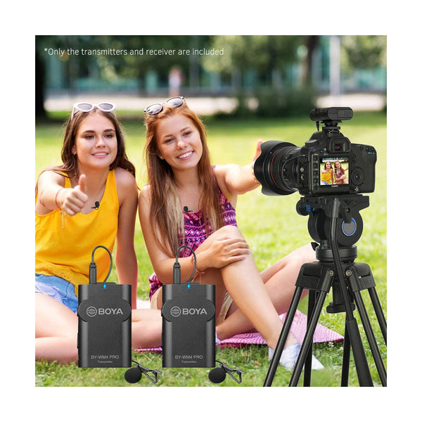 BOYA BY-WM4 Pro K2 Microphone Portable 2.4G Wireless Microphone System(Dual Transmitters + One Receiver) with Hard Case for DSLR Camera Camcorder Smartphone PC Tablet Sound Audio Recording Interview