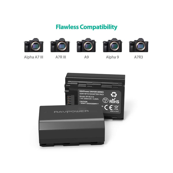 NP-FZ100 RAVPower [Upgraded] NP FZ100 Replacement Battery Charger Set Dual USB Charger Compatible with Firmware 2.0 Sony Alpha A7 III Battery, A7R III, A9, Sony Alpha 9, A7R3 (2-Pack, 2000mAh)