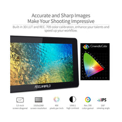 FEELWORLD F6 Plus 5.5 inch DSLR Camera Field Touch Screen Monitor with 3D Lut Small Full HD 1920x1080 IPS Video Peaking Focus Assist 4K HDMI 8.4V DC Input Output Include Tilt Arm