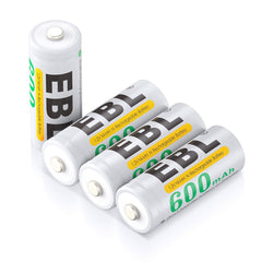 EBL 4Pack 1.2V N Size 600mAh Rechargeable battery - Ni-MH NimH