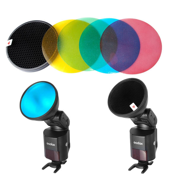 Godox Ad-s11 Color Gel Pack + Reflector Grid Kit for Witstro Flash-ad180 Ad360