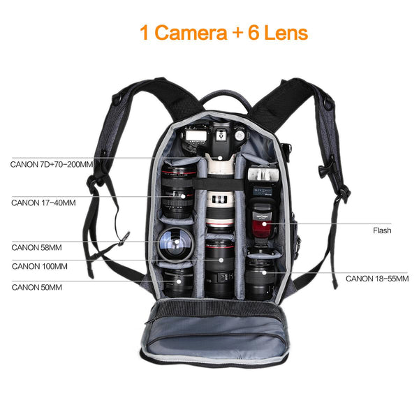 K&F Concept Nylon Large DSLR Camera Backpack for Travel Outdoor Photography fit Canon Nikon for DSLR  Mirrorless Camera Travel Photography Bag -  KF13.044